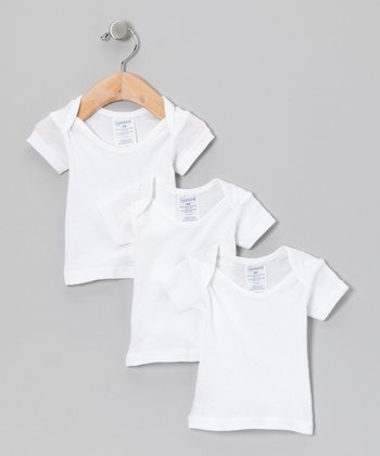 White Lap Neck Tee Set