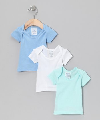 Blue, White & Green Tee Set