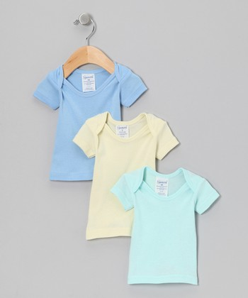 Blue, Yellow & Green Lap Neck Tee Set