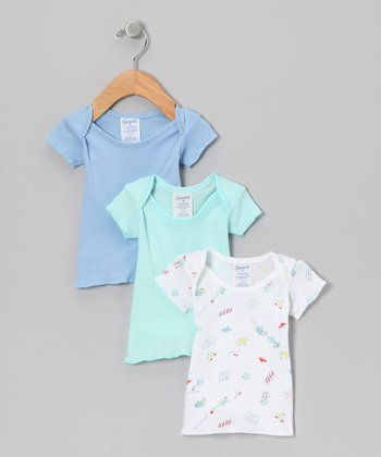 Blue & Green Car Lap Neck Tee Set