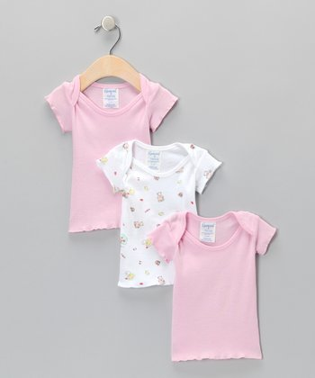 Pink Apple Lap Neck Tee Set