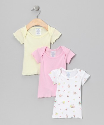 Yellow & Pink Apple Lap Neck Tee Set