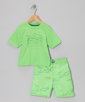 Micros Green Rashguard & Boardshorts - Infant, Toddler & Boys