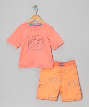 Micros Orange Rashguard & Boardshorts - Infant, Toddler & Boys