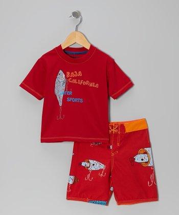 Micros Red & Orange Rashguard & Boardshorts - Infant & Toddler