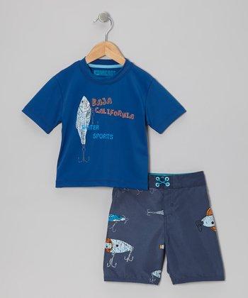 Micros Royal Blue Rashguard & Boardshorts - Infant & Toddler