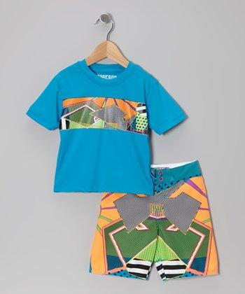 Micros Turquoise Rashguard & Boardshorts - Infant, Toddler & Boys