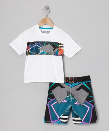Micros White Rashguard & Boardshorts - Infant, Toddler & Boys