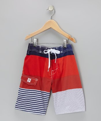 Blue & Red Stripe Boardshorts - Boys
