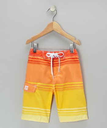 Orange Stripe Boardshorts - Boys
