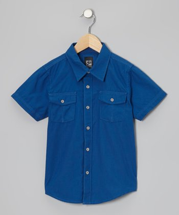Cobalt Woven Button-Up - Boys