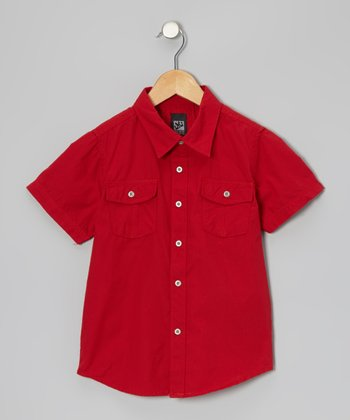 Neon Red Woven Button-Up - Boys