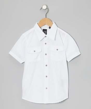 White Woven Button-Up - Boys