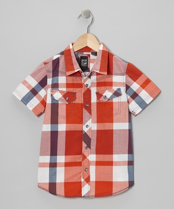 Orange Plaid Button-Up - Boys