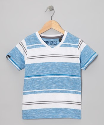 Blue & White Stripe V-Neck Tee - Boys