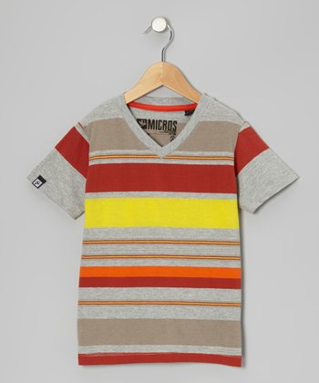 Heather Gray Stripe V-Neck Tee - Boys