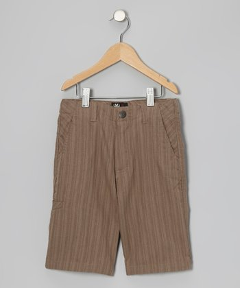 Khaki Stripe Walk Shorts - Boys