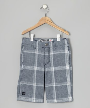 Navy Plaid Walk Shorts - Boys