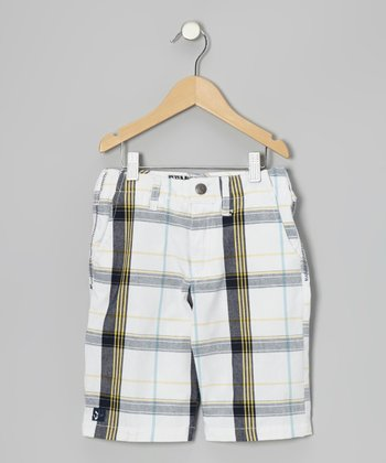 White Plaid Walk Shorts - Boys