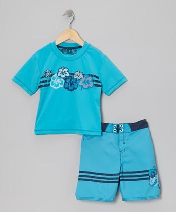 Micros Aqua Rashguard & Boardshorts - Toddler & Boys