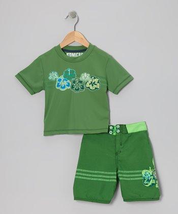 Micros Kelly Green Rashguard & Boardshorts - Toddler & Boys