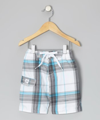 White & Blue Plaid Boardshorts - Toddler