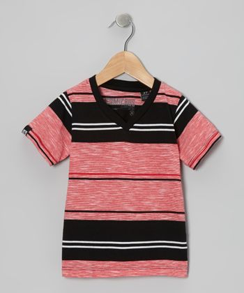 Red & Black Stripe V-Neck Tee - Toddler