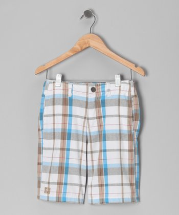White Plaid Decision Shorts - Toddler & Boys