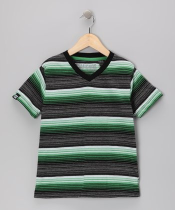 Black & Green Stripe V-Neck Tee - Toddler & Boys