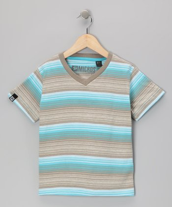 Light Blue & Beige Stripe V-Neck Tee - Toddler