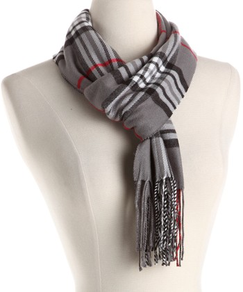 Gray & Red Plaid Wool Scarf