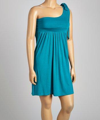 Teal Asymmetrical Dress - Plus