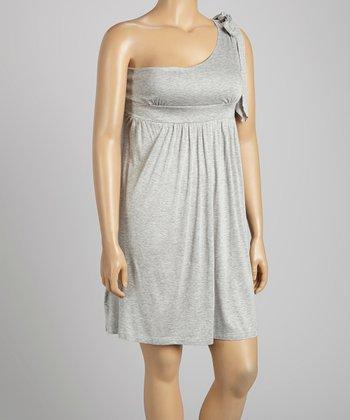 Gray Asymmetrical Dress - Plus