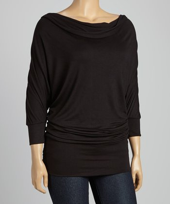 Black Drape Neck Dolman Tunic - Plus