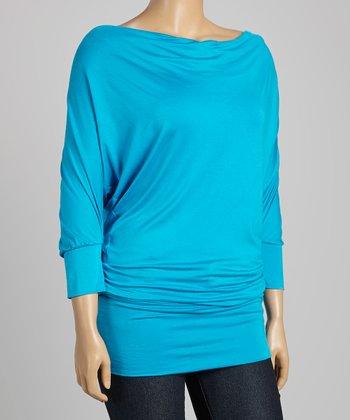 Blue Drape Neck Dolman Tunic - Plus