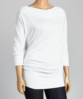 White Drape Neck Dolman Tunic - Plus