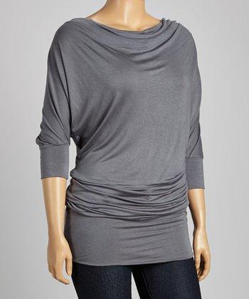 Charcoal Drape Neck Dolman Tunic - Plus