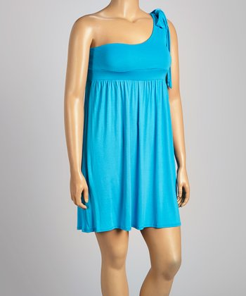 Blue Asymmetrical Dress - Plus