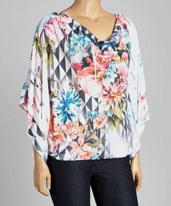 White Geometric Floral Drape Neck Top - Plus