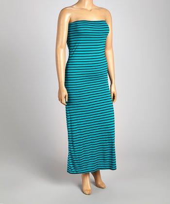 Teal & Black Stripe Strapless Maxi Dress - Plus