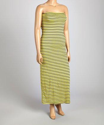 Yellow & Black Stripe Strapless Maxi Dress - Plus