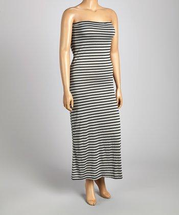 Light Gray & Black Stripe Strapless Maxi Dress - Plus