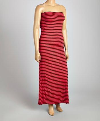Red & Black Stripe Strapless Maxi Dress - Plus