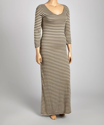 Tan & Black Stripe Maxi Dress - Plus