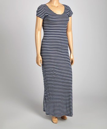 Navy & White Stripe Short-Sleeve Maxi Dress - Plus