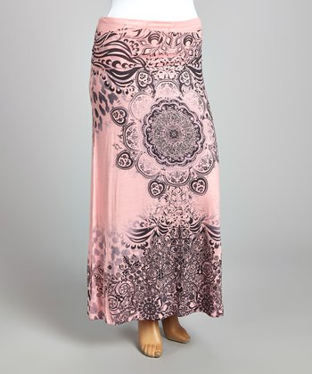 Light Pink & Charcoal Abstract Maxi Skirt - Plus