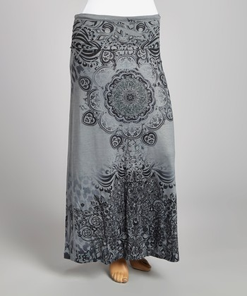 Gray & Black Abstract Maxi Skirt - Plus