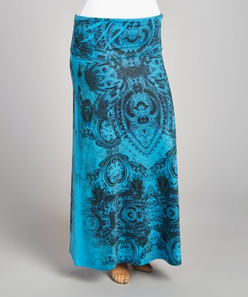Teal & Black Mehndi Maxi Skirt - Plus
