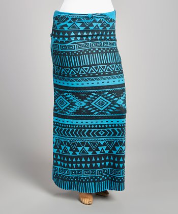 Teal & Black Tribal Maxi Skirt - Plus