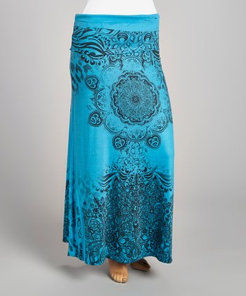 Teal & Black Abstract Maxi Skirt - Plus